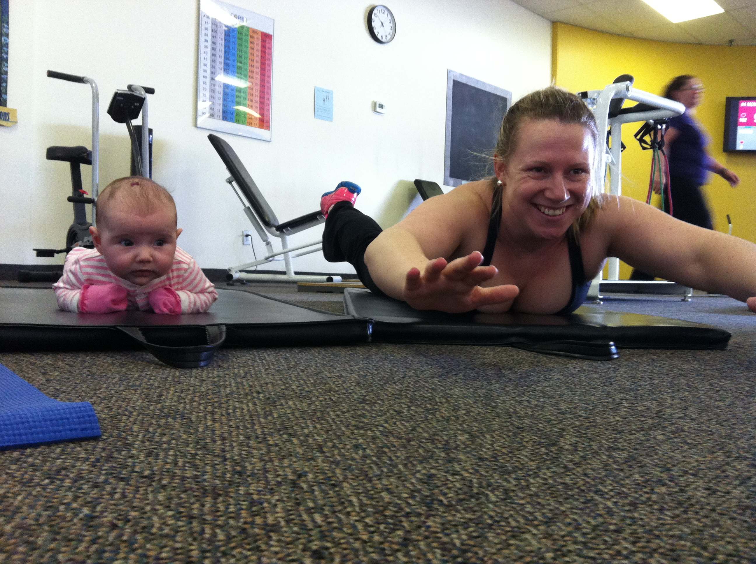 Lots of moms and daughters workout together.